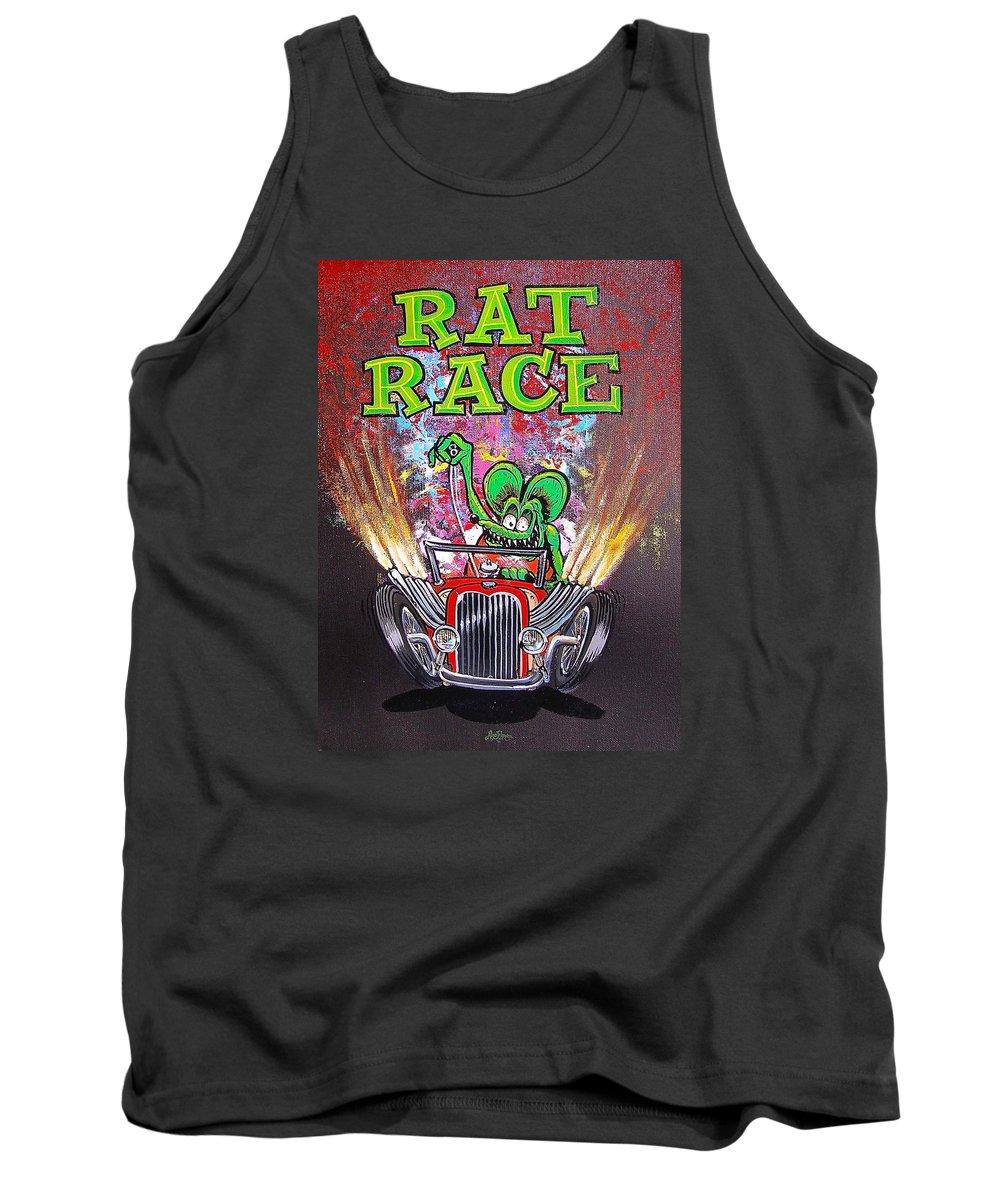 Rat Race Tank Top featuring the painting Rat Race by Alan Johnson