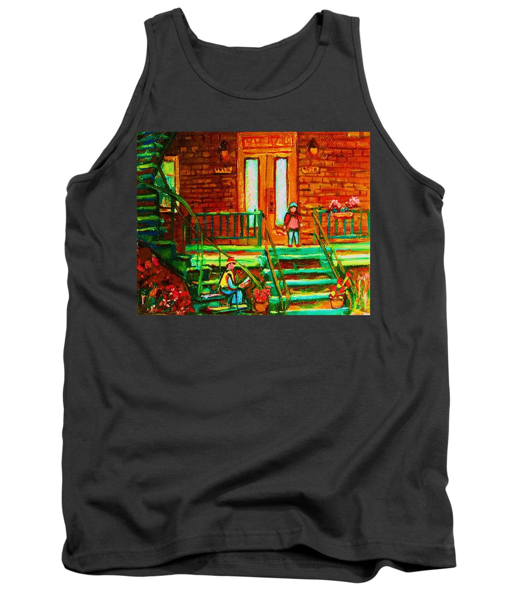 Stairways Tank Top featuring the painting Reading On The Steps by Carole Spandau