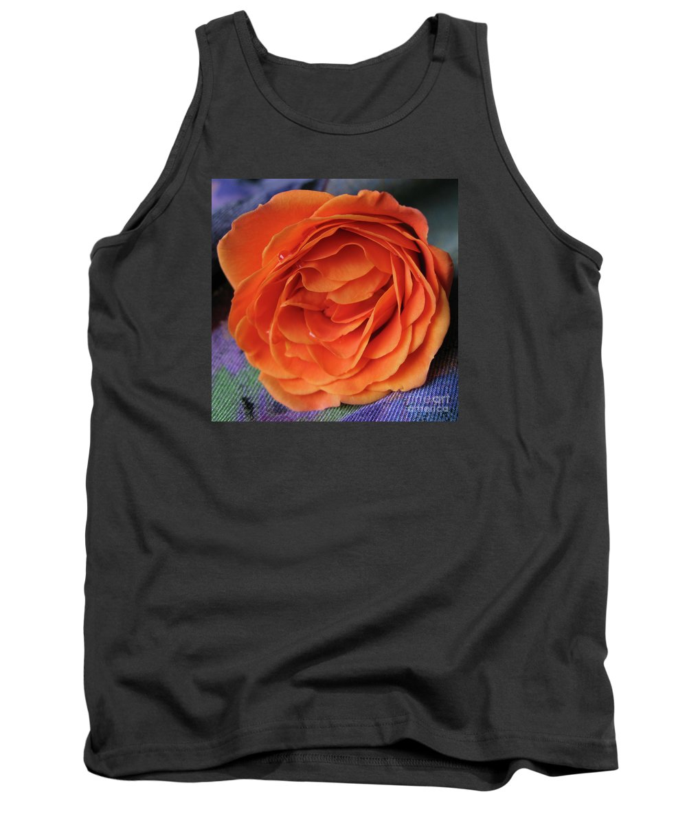 Rose Tank Top featuring the photograph Really Orange Rose by Ann Horn