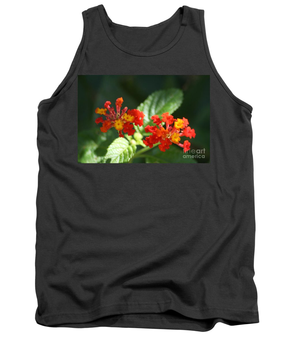 Red Tank Top featuring the photograph Red And Orange Lantana by John W Smith III