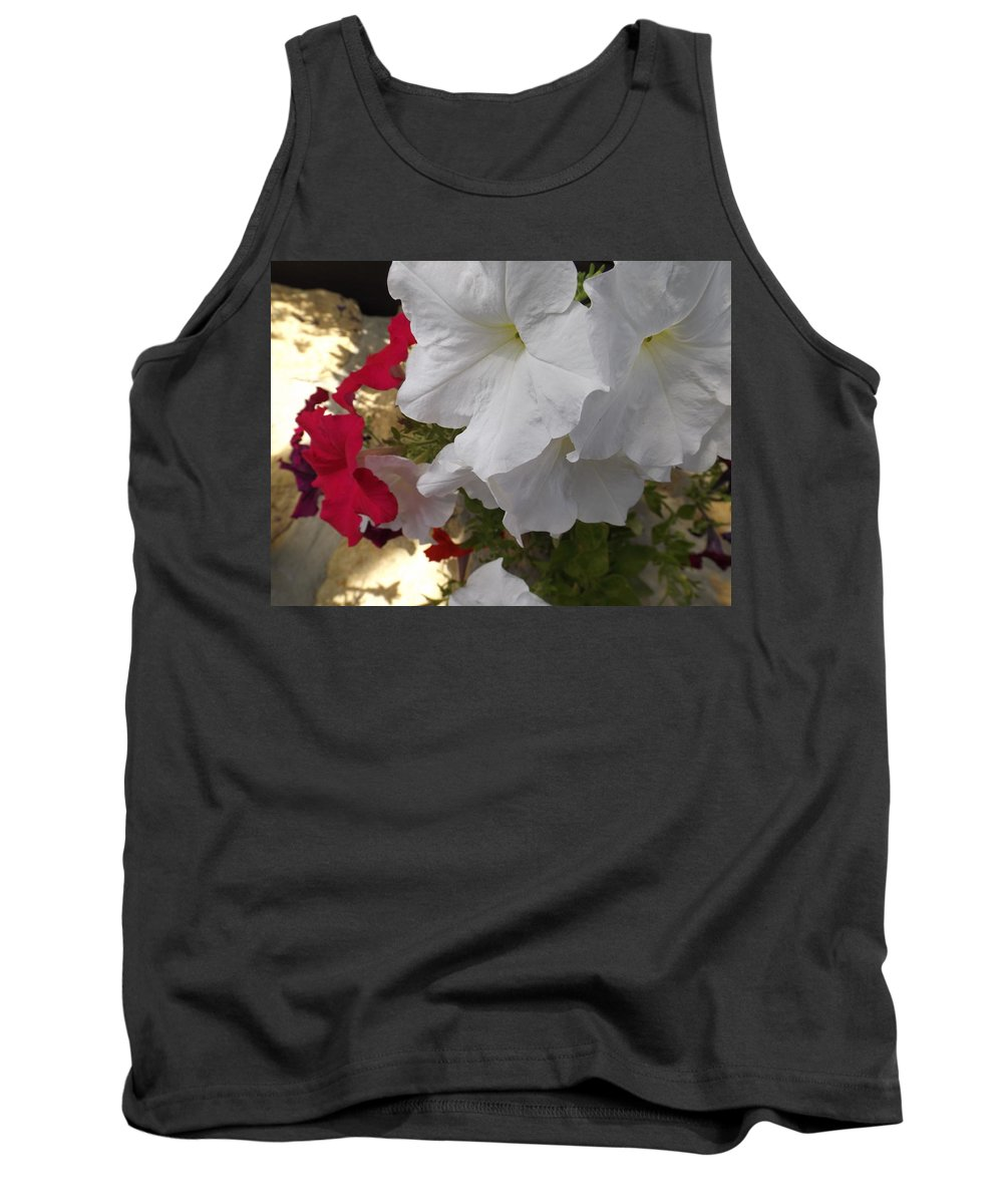 Red Tank Top featuring the photograph Red And White Petunias by Cat Sanchez