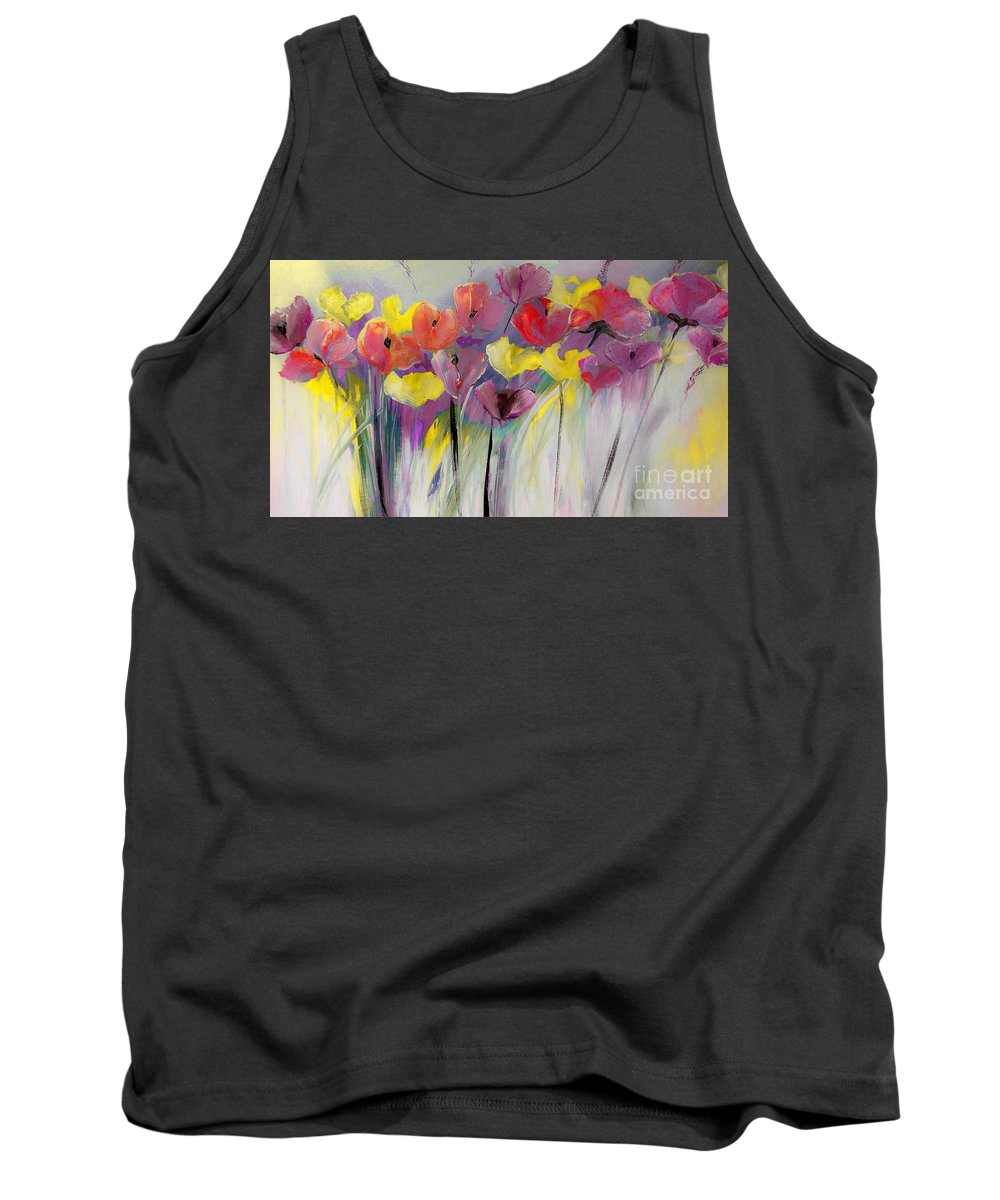 Floral Tank Top featuring the digital art Red And Yellow Floral Field Painting by Lisa Kaiser