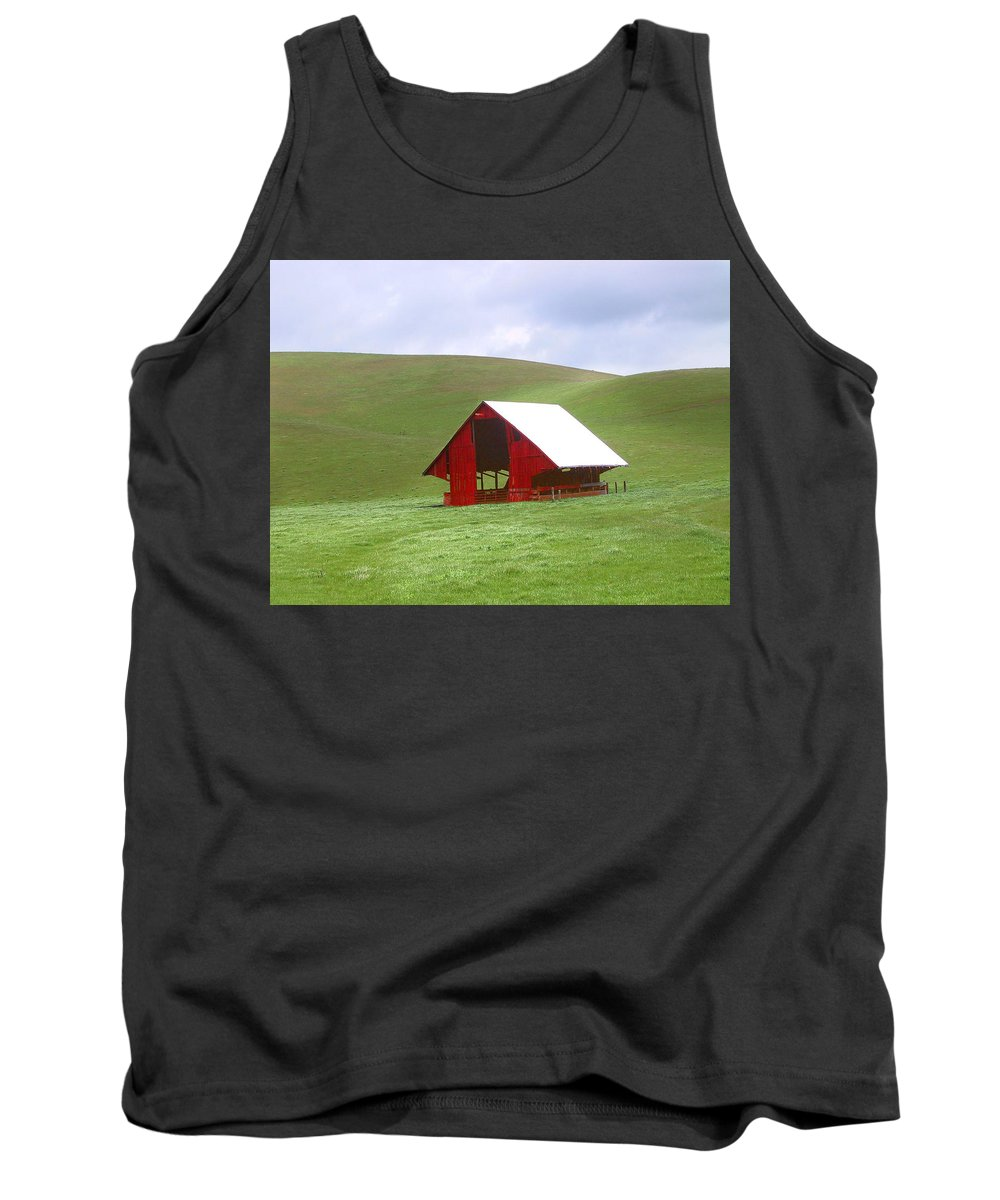 Landscape Tank Top featuring the photograph Red Barn In Spring by Karen W Meyer