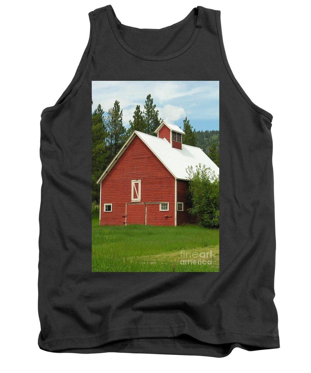 Red Tank Top featuring the photograph Red Barn Montana by Diane Greco-Lesser