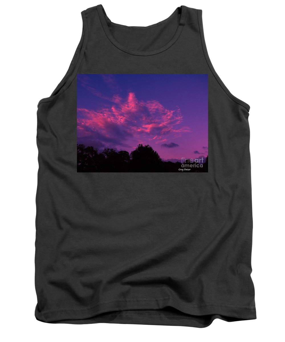 Night Scape Tank Top featuring the photograph Red Blue Sky by Greg Patzer