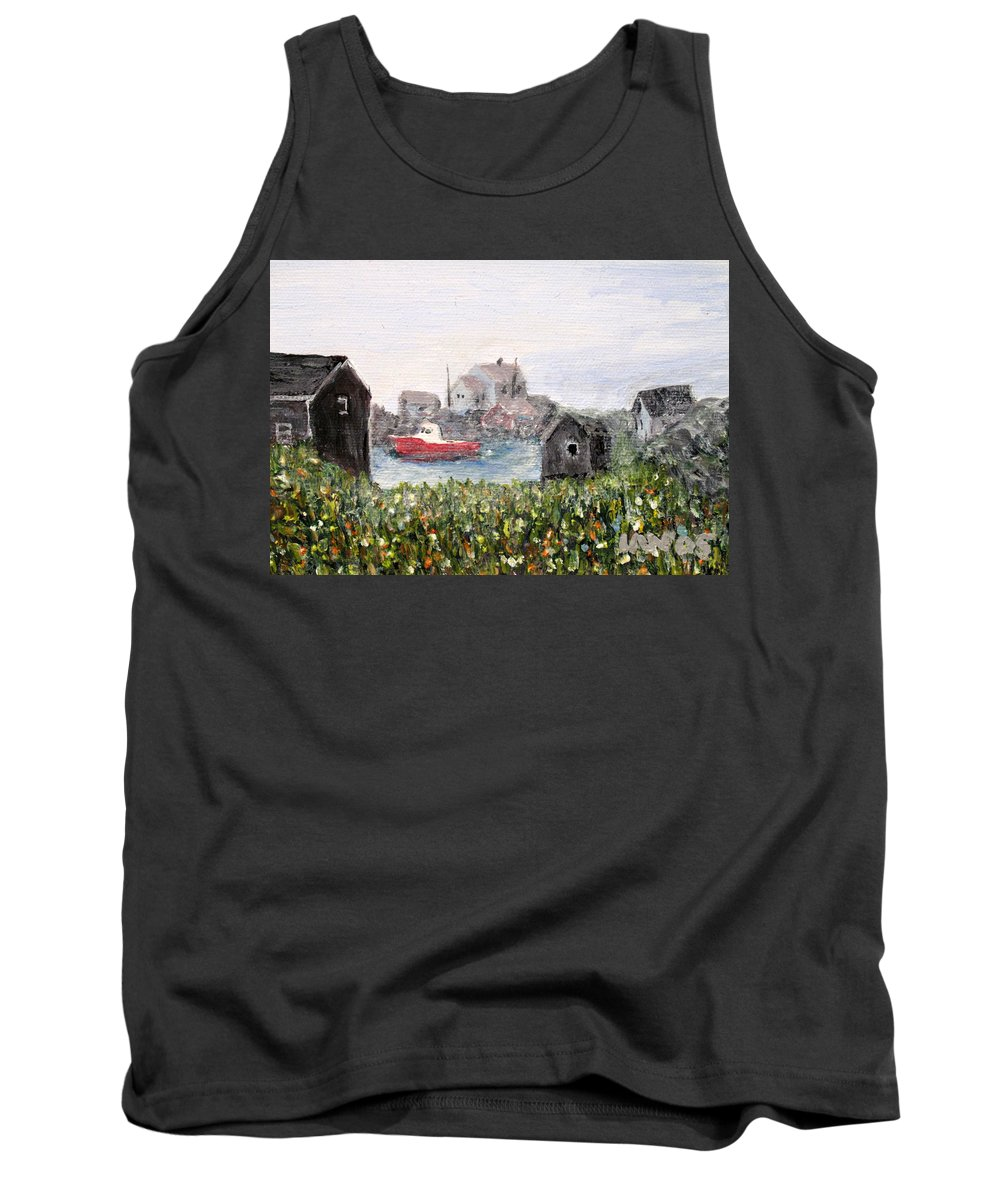 Red Boat Tank Top featuring the painting Red Boat In Peggys Cove Nova Scotia by Ian MacDonald