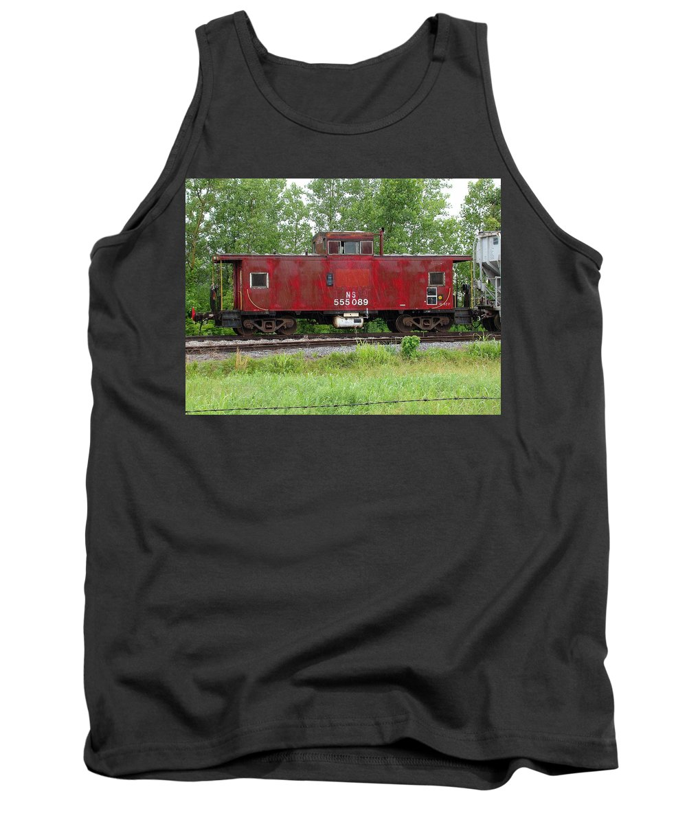 Train Tank Top featuring the photograph Red Caboose In The Rain by J R Seymour