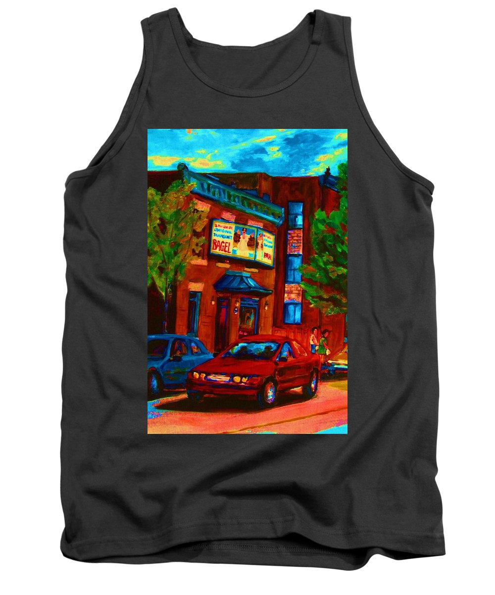 Fairmount Bagel Tank Top featuring the painting Red Car Blue Sky by Carole Spandau