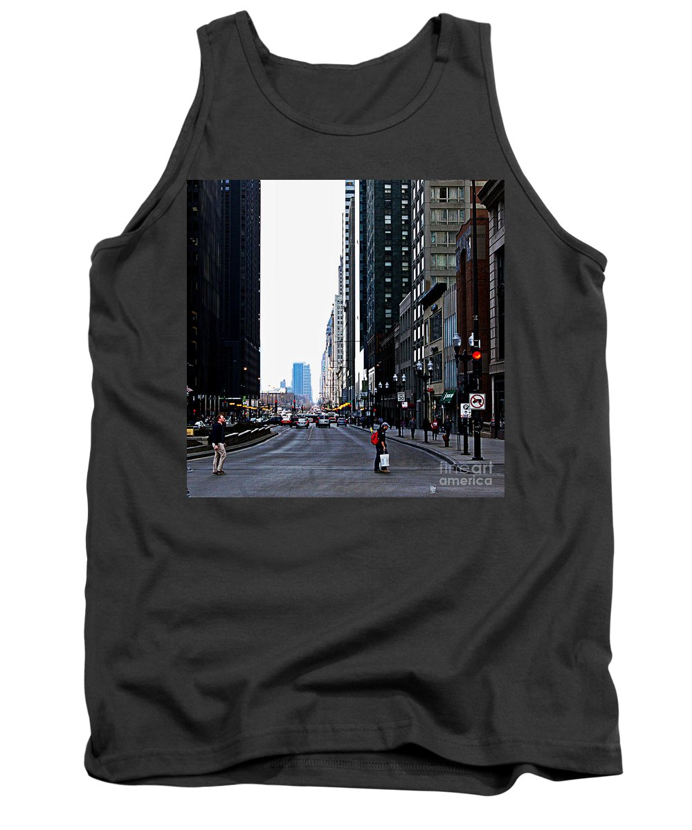 Frank J Casella Tank Top featuring the photograph Red Lights - City Of Chicago by Frank J Casella