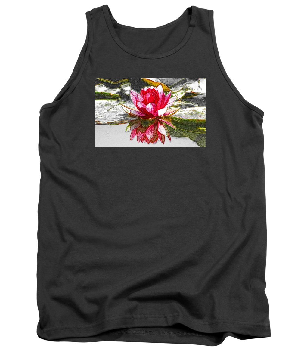 Red Lotus Flower Tank Top featuring the painting Red Lotus Flower by Jeelan Clark