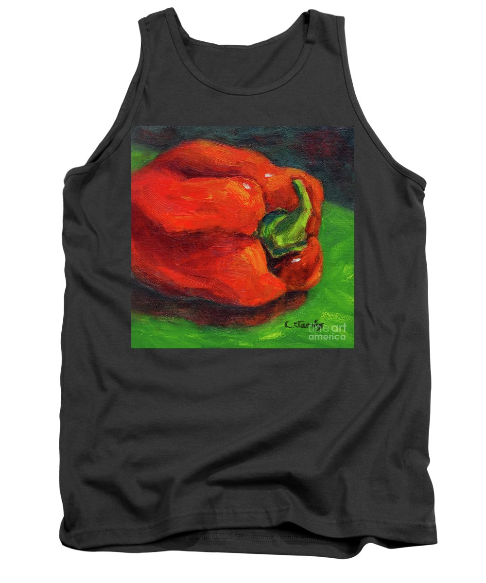 Red Pepper Still Life Tank Top featuring the painting Red Pepper Still Life by Carolyn Jarvis