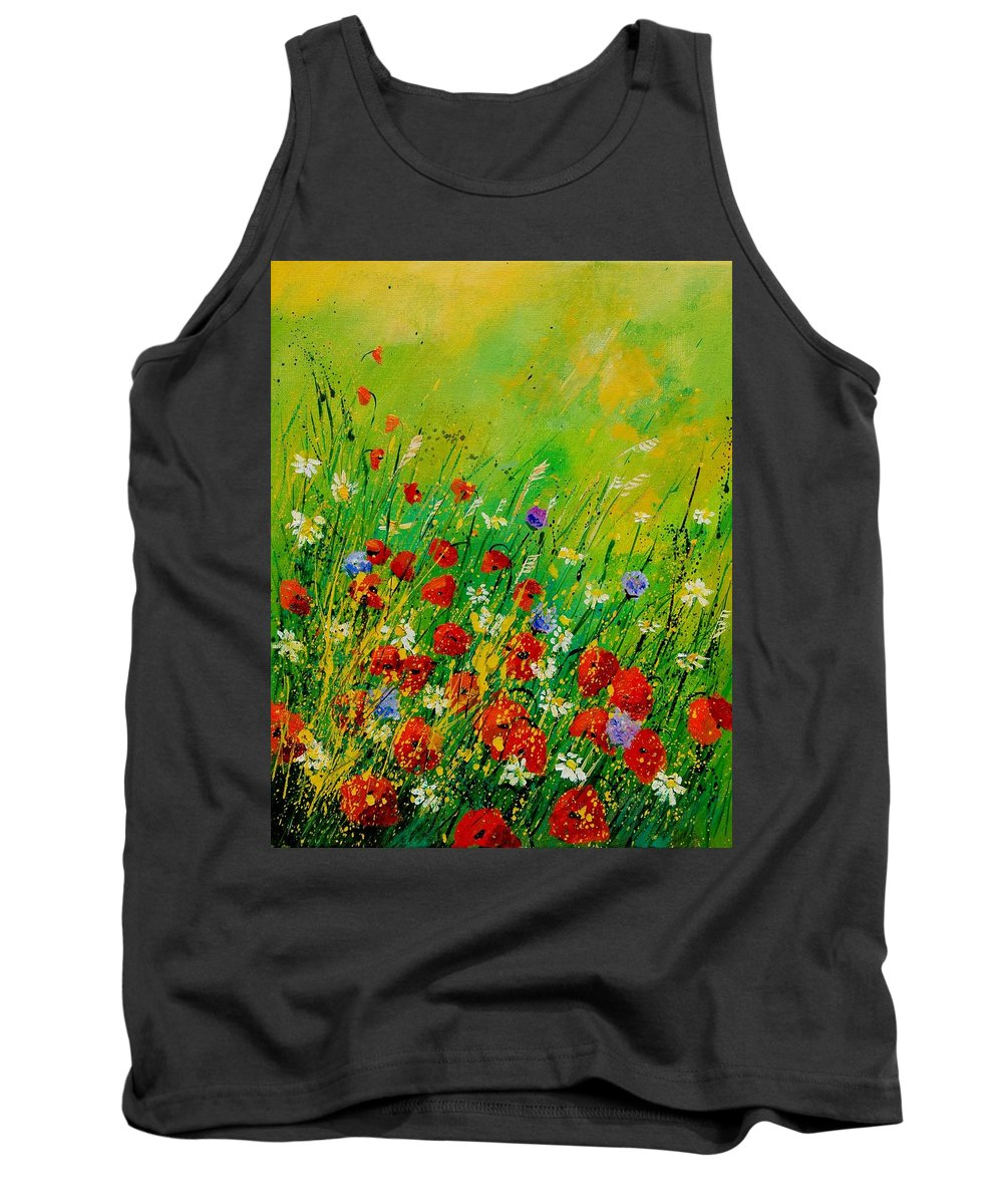 Flowers Tank Top featuring the painting Red Poppies 450708 by Pol Ledent