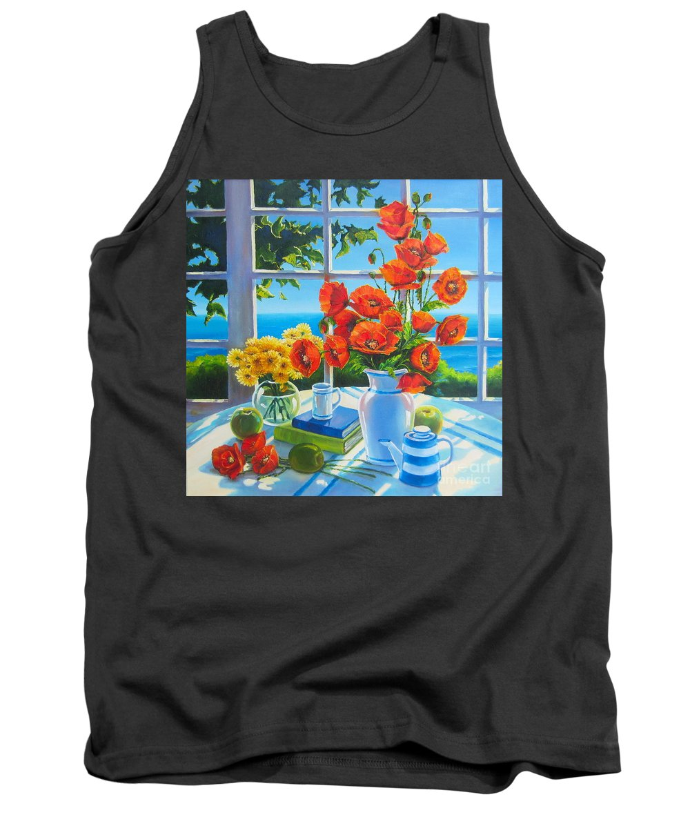 Poppies Tank Top featuring the painting Red Poppies And Green Apples by Elena Yalcin
