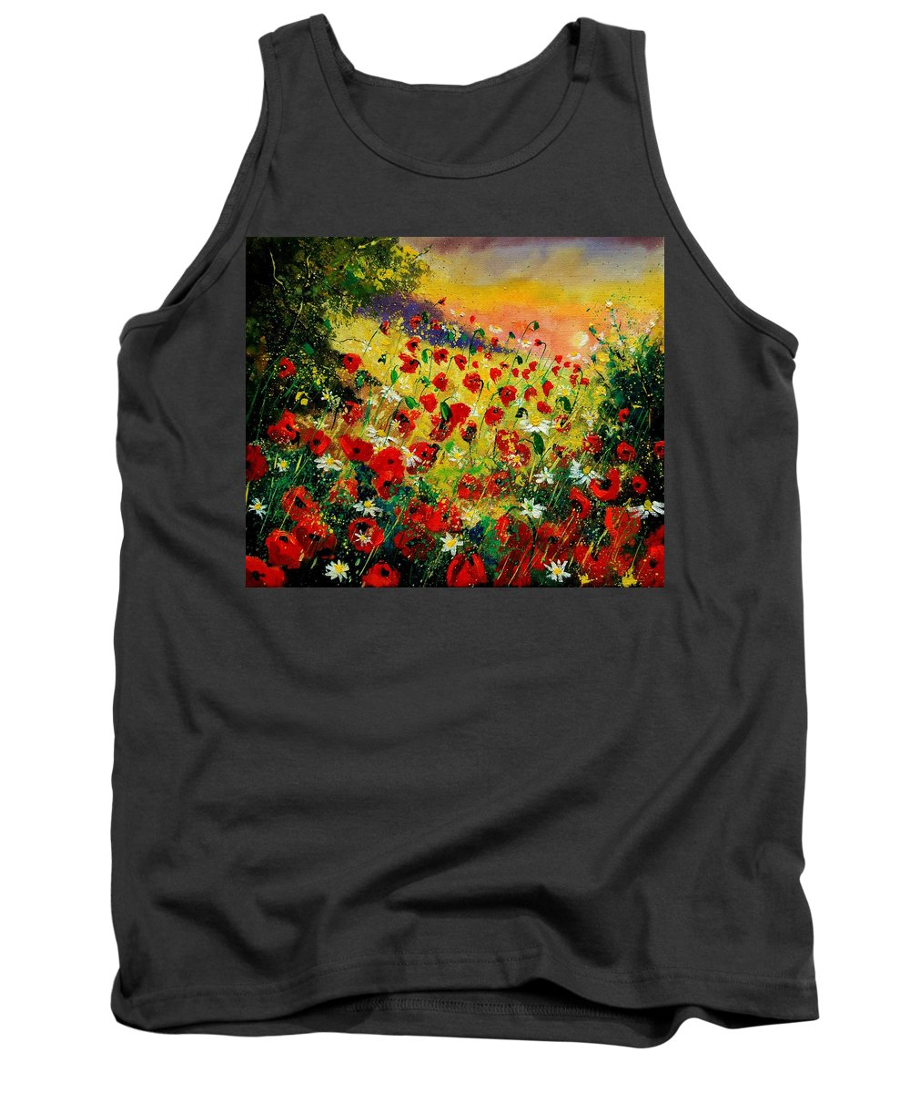 Tree Tank Top featuring the painting Red Poppies by Pol Ledent