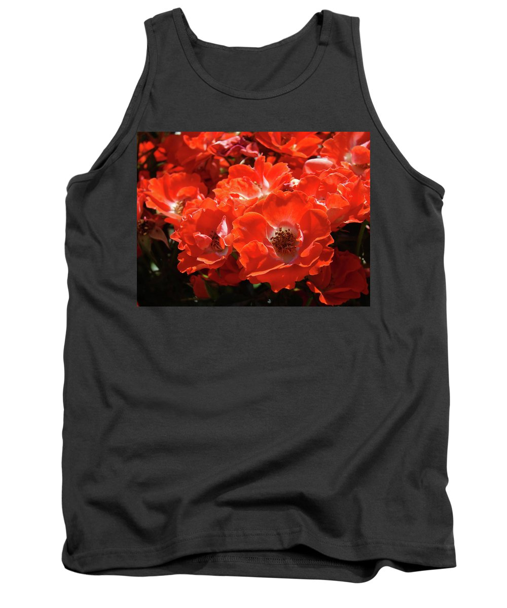 Rose Tank Top featuring the photograph Red Roses Botanical Landscape 1 Red Rose Giclee Prints Baslee Troutman by Baslee Troutman