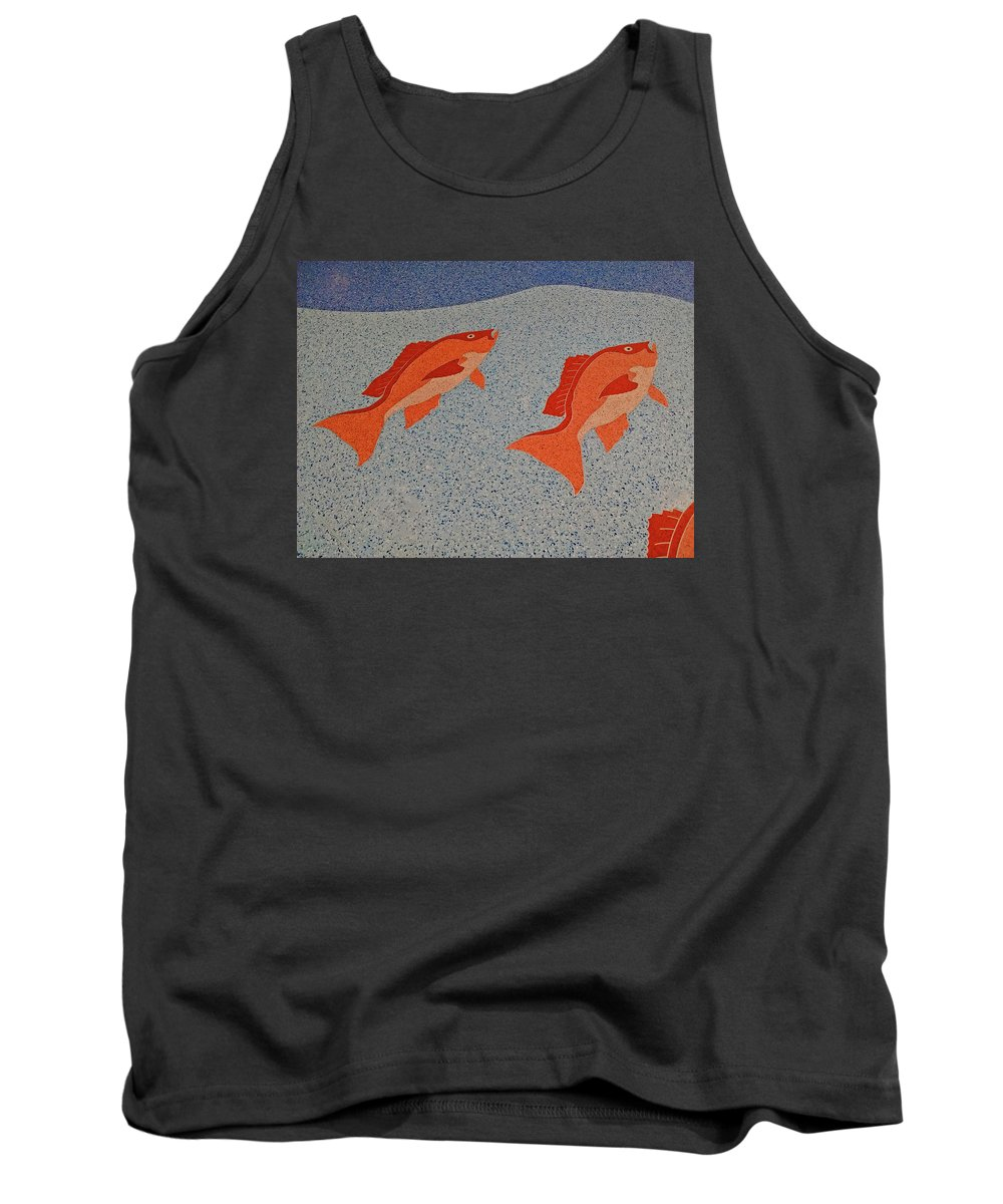 Photograph Tank Top featuring the digital art Red Snapper Inlay On Alabama Welcome Center Floor by Marian Bell