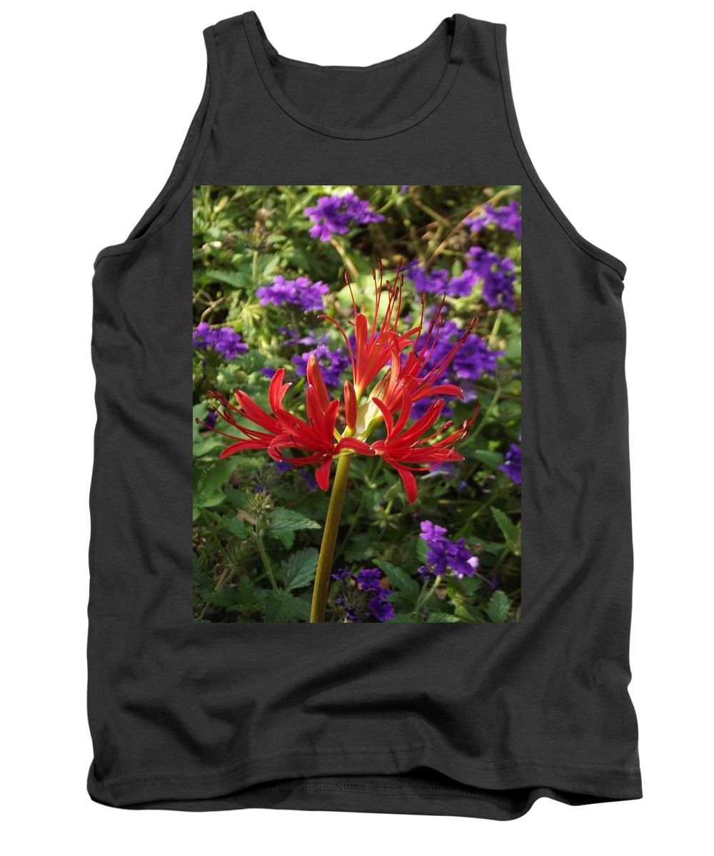 Red Tank Top featuring the photograph Red Spider Lily by Jerry Wilson