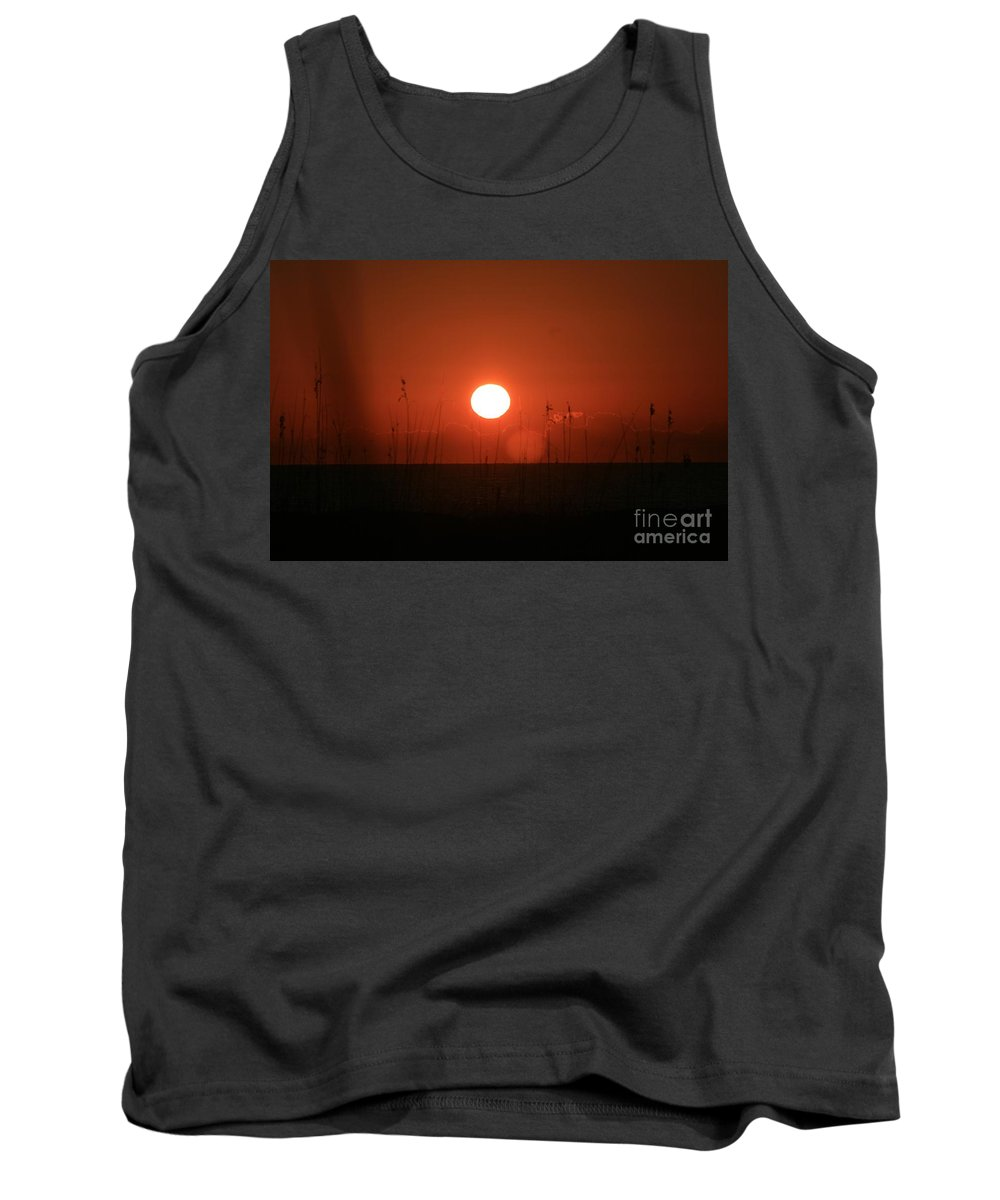 Sunset Tank Top featuring the photograph Red Sunset And Grasses by Nadine Rippelmeyer