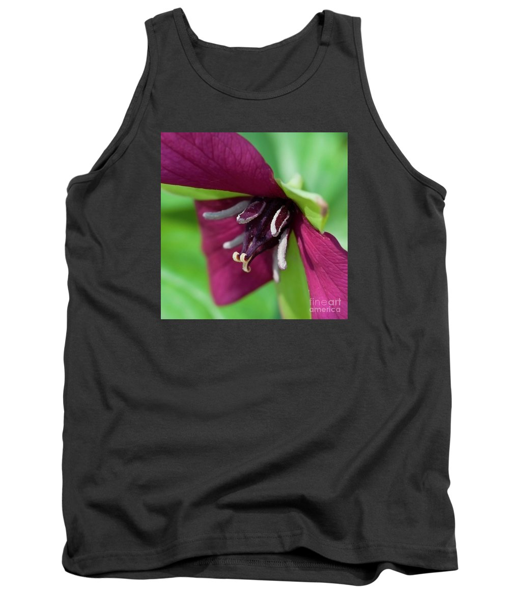 Festblues Tank Top featuring the photograph Red Trillium.. by Nina Stavlund