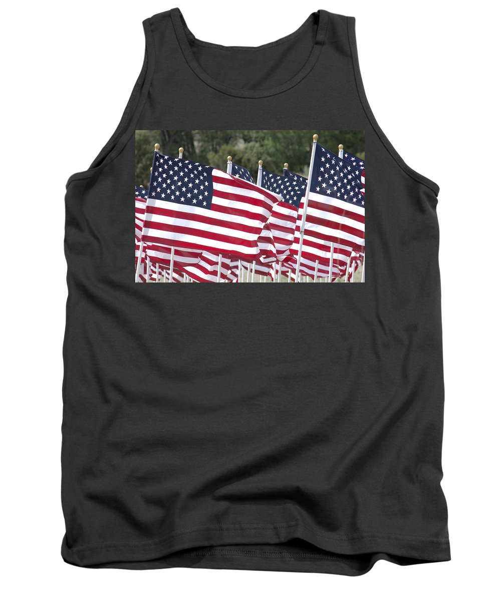 Flag Tank Top featuring the photograph Red White And Blue by Jerry McElroy