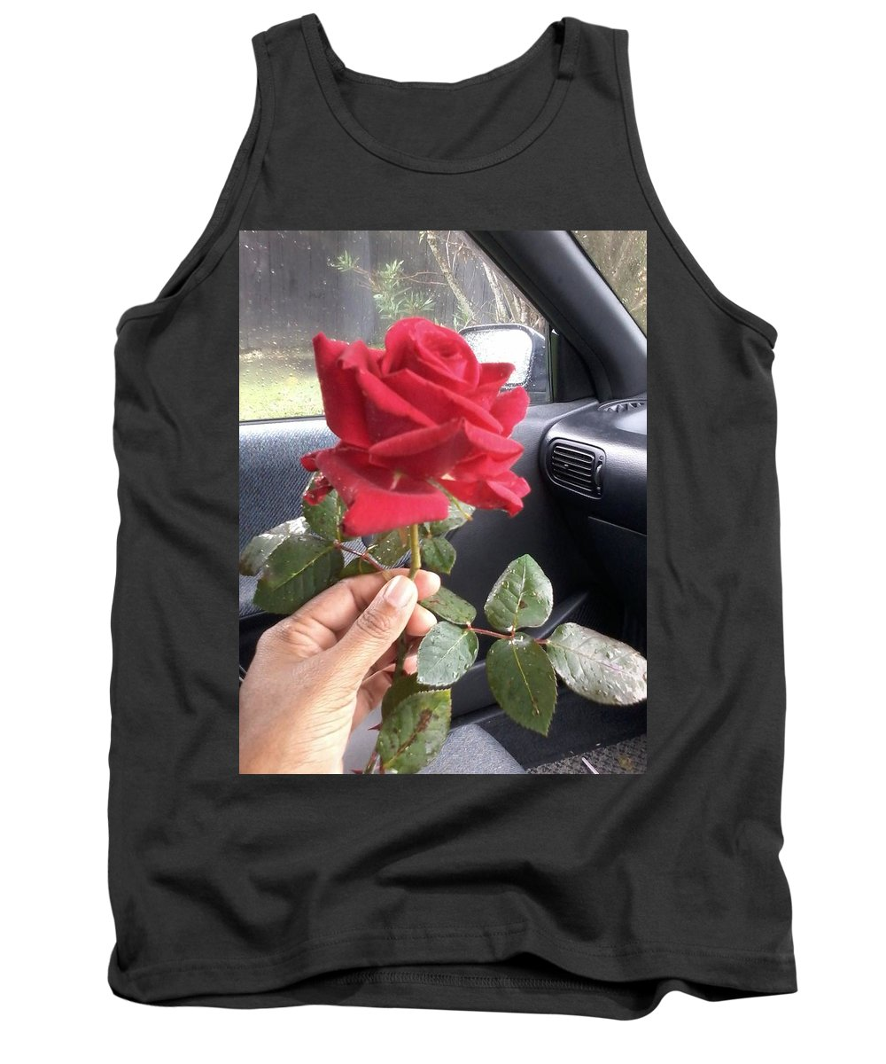 Flowers Tank Top featuring the photograph Red Winter Rose by Sim Swap