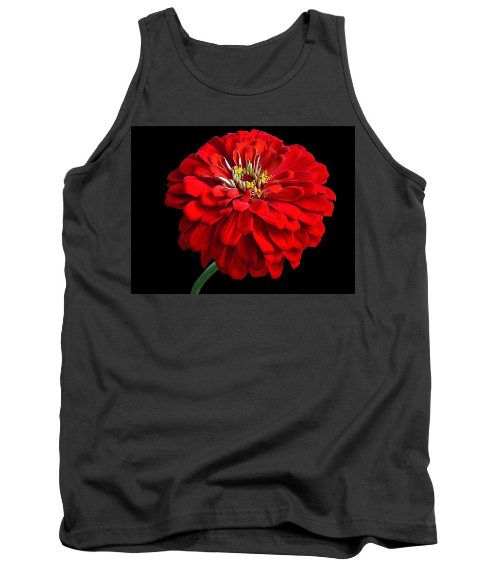 Flower Tank Top featuring the photograph Red Zinnia by Sandy Keeton
