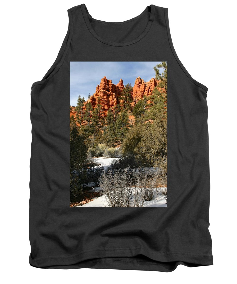 Red Rocks Tank Top featuring the photograph Redrock Winter by Nelson Strong