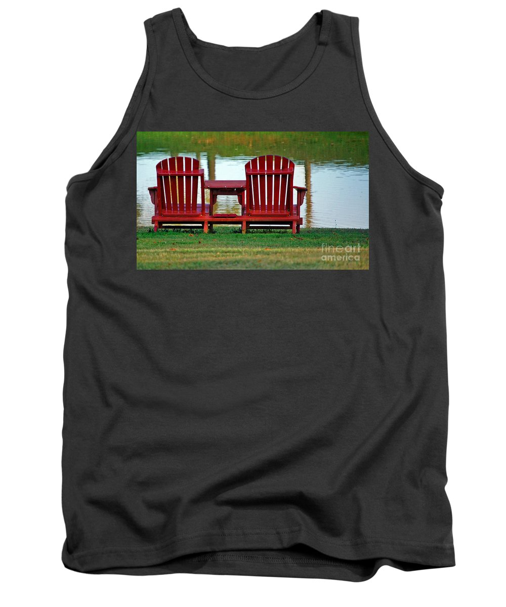 Chairs Tank Top featuring the photograph Reflection by Debbi Granruth