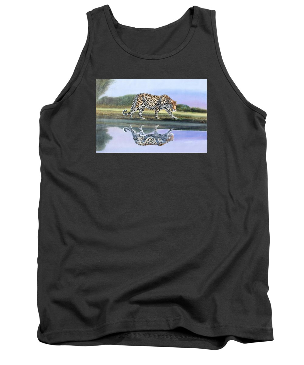 True African Art Tank Top featuring the painting Reflection Stalk by Wycliffe Ndwiga