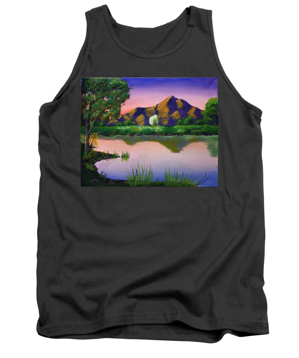 Landscape Tank Top featuring the painting Reflections In The Breeze by Dawn Blair