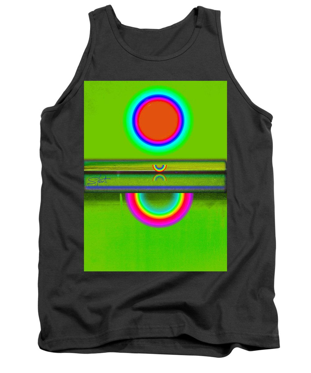 Reflections Tank Top featuring the painting Reflections On Green by Charles Stuart