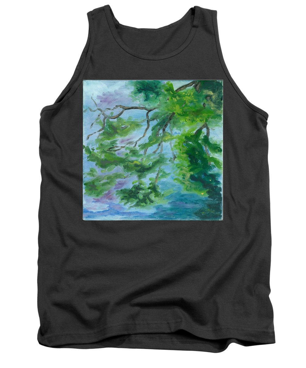 Reflections Tank Top featuring the painting Reflections On The Mill Pond by Paula Emery