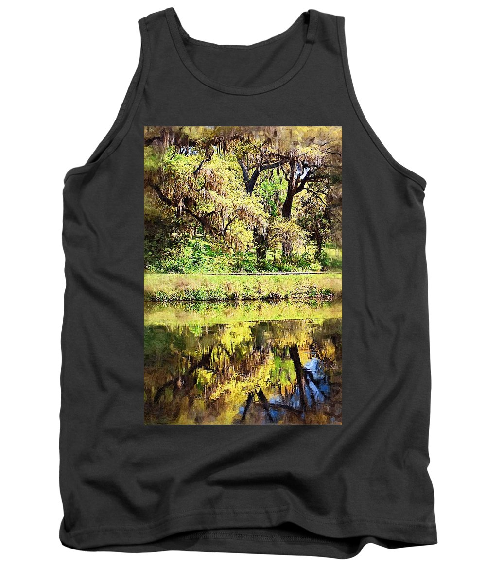 Landscape Tank Top featuring the photograph Reflective Live Oaks by Donna Bentley