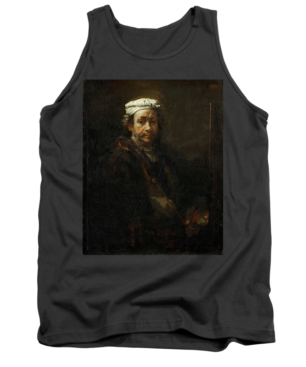Man Tank Top featuring the digital art Rembrandt At The Easel Rembrandt Harmenszoon Van Rijn by Eloisa Mannion