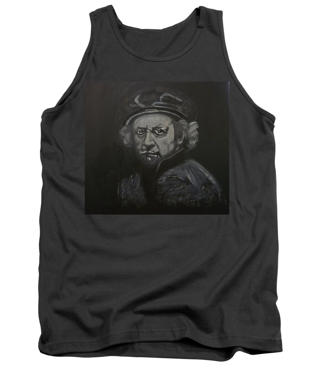 Rembrandt Tank Top featuring the painting Rembrandt Black And White by Richard Le Page