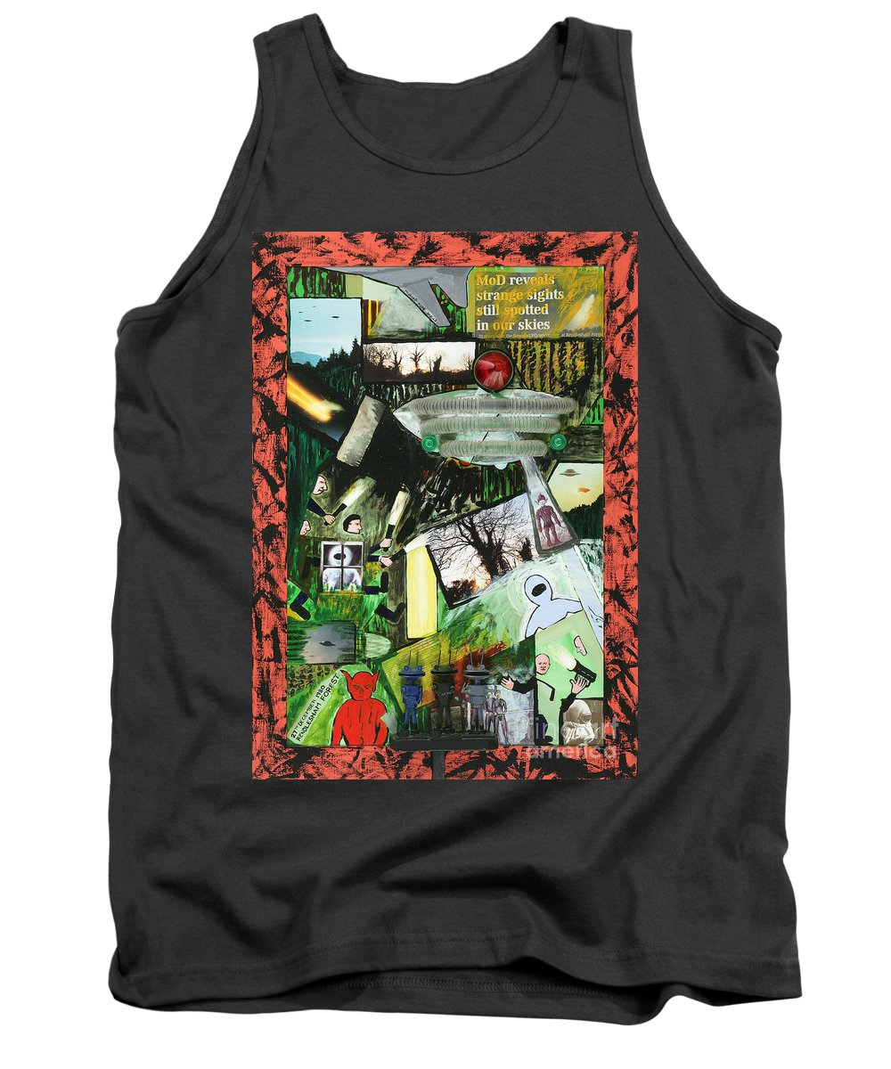 Rendlesham Ufo Tank Top featuring the mixed media Rendlesham Ufo Incident by Steve Royce Griffin