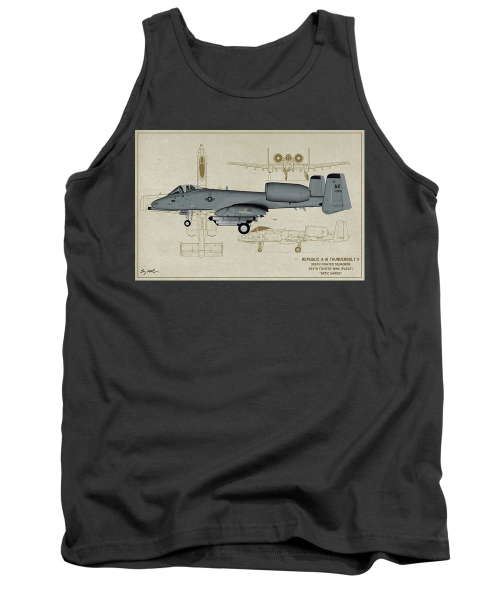 Fighter Tank Top featuring the digital art Republic A-10 Thunderbolt II - Profile Art by Tommy Anderson