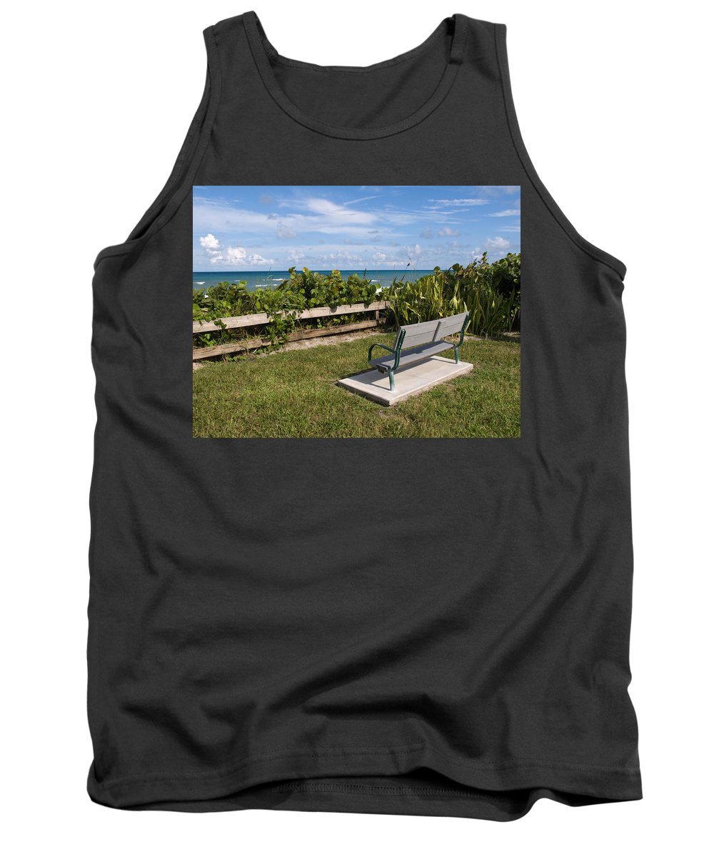 Bench; Public; Florida; Melbourne; Beach; Coast; Shore; Surf; Sand; Brevard; Space; Ocean; Sea; Atla Tank Top featuring the photograph Reserved For A Visitor To East Coast Florida by Allan Hughes
