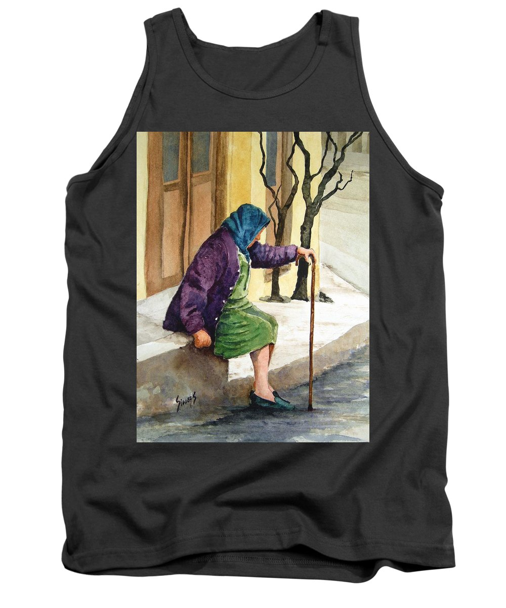 Old Lady Tank Top featuring the painting Resting by Sam Sidders