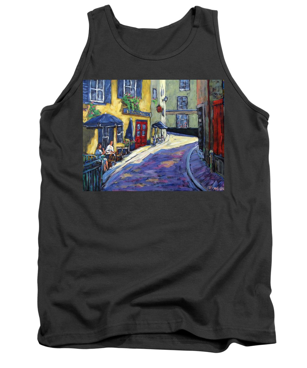 Restaurant Tank Top featuring the painting Resto Le Cochon Dingue In Old Quebec by Richard T Pranke