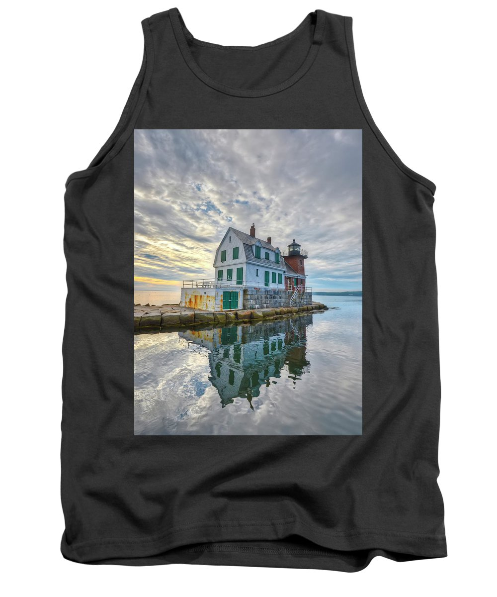 Breakwater Lighthouse Tank Top featuring the photograph Reflection Dawn by Jeff Cooper