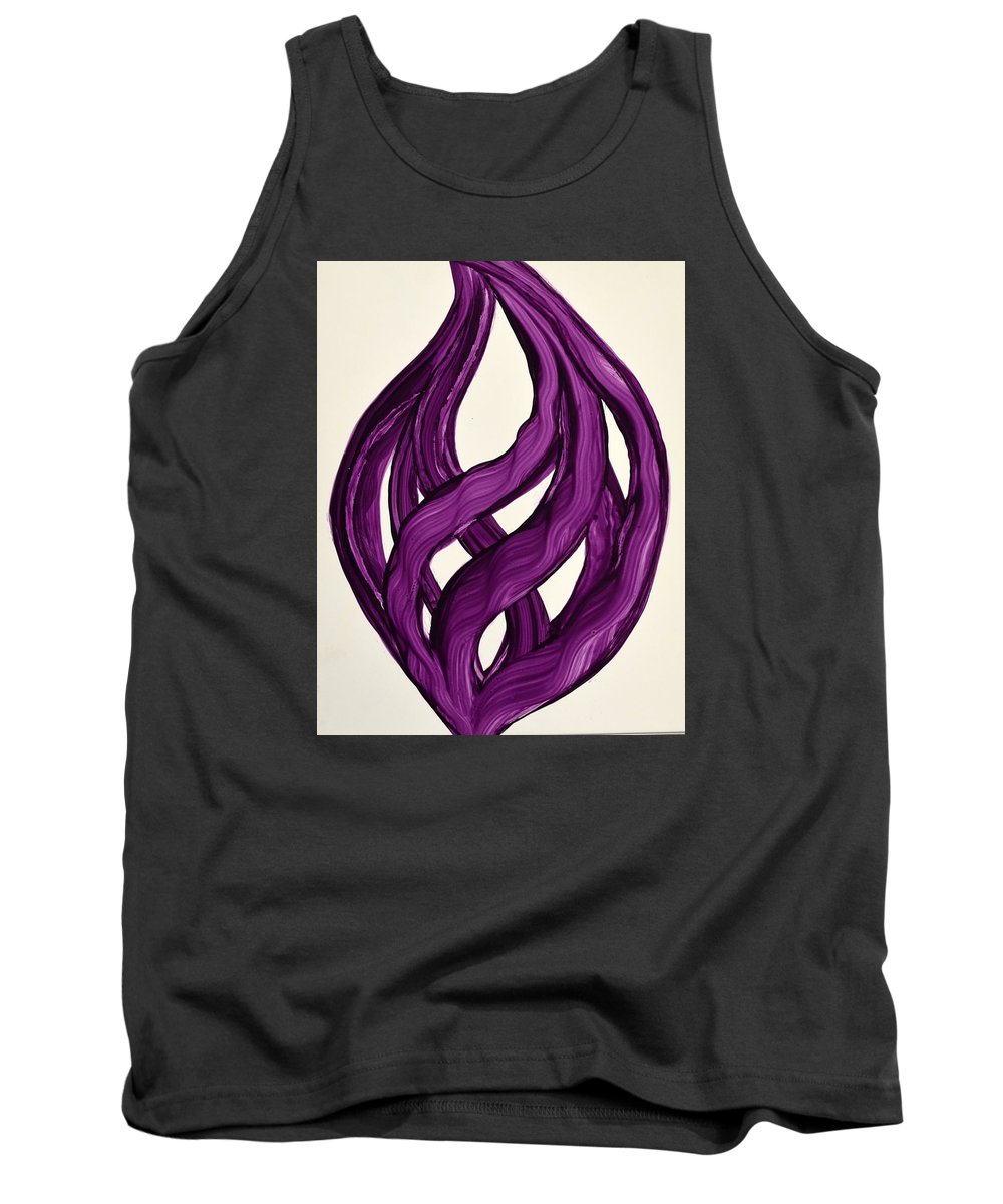 Abstract Art Yupo Comtemporary Modern Pop Romantic Vibrant Tank Top featuring the painting Ribbons of love-Violet by Manjiri Kanvinde
