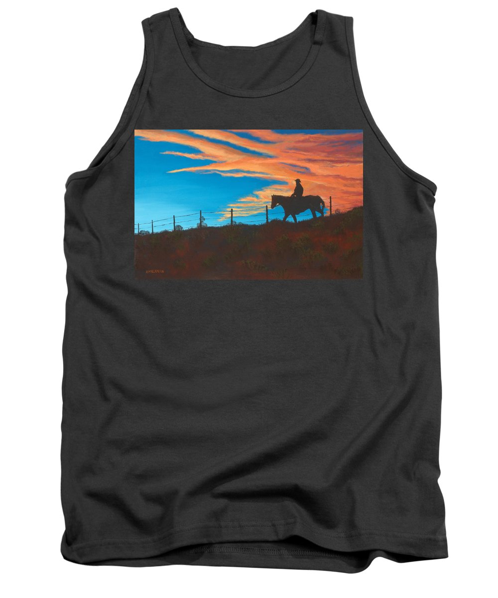Cowboy Tank Top featuring the painting Riding Fence by Jerry McElroy