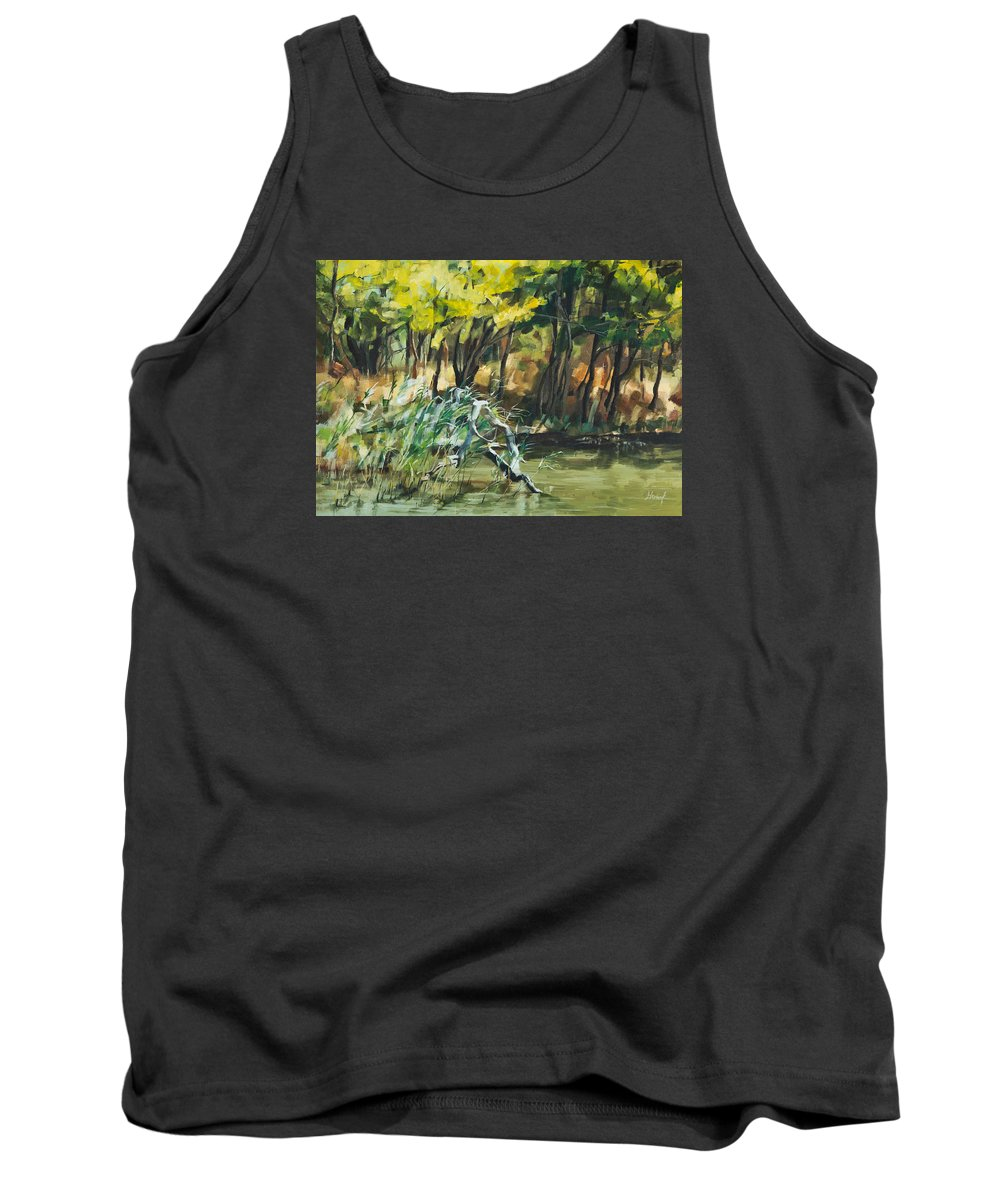 River Tank Top featuring the painting River In Summer by Maria Arnaudova