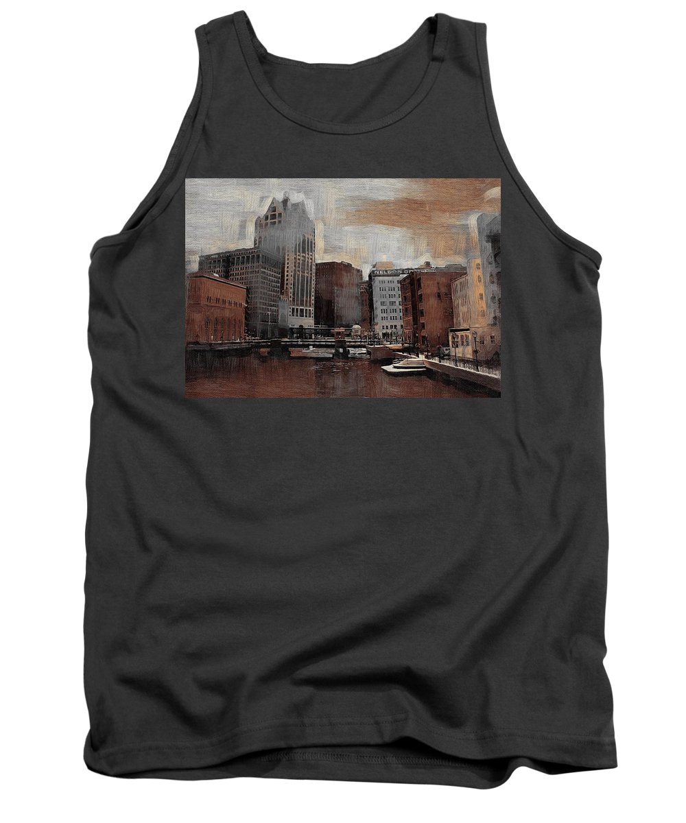 River Tank Top featuring the digital art River View Aged by Anita Burgermeister