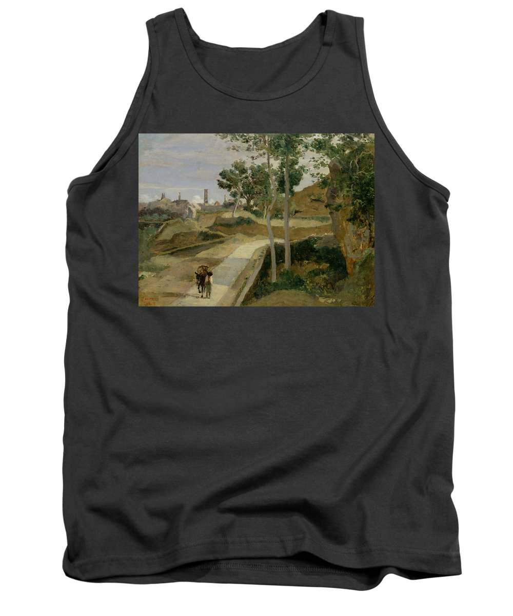 Road Tank Top featuring the painting Road From Volterra by Jean Baptiste Camille Corot