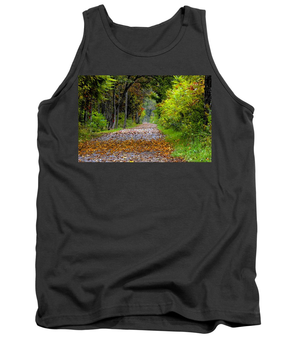 Fall Tank Top featuring the painting Road To Autumn by David Lee Thompson
