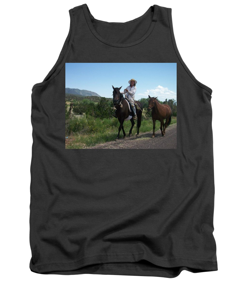 Horses Tank Top featuring the photograph Roadside Horses by Anita Burgermeister