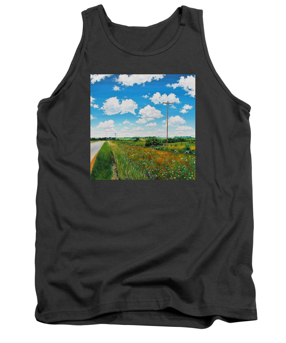 Landscape Tank Top featuring the painting Roadside Prairie by Glenn Boyles