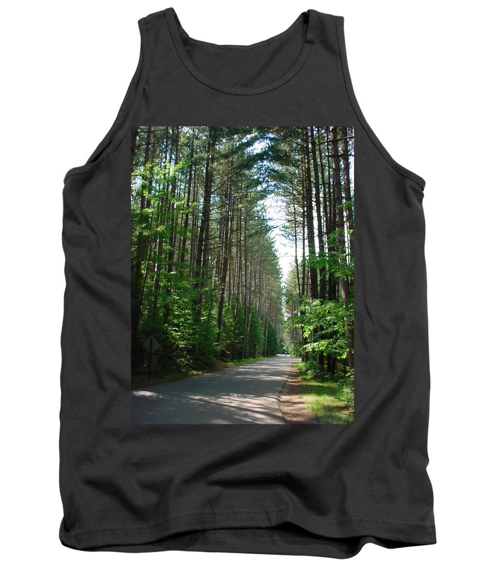 Fish Creek Tank Top featuring the photograph Roadway At Fish Creek by Jerrold Carton